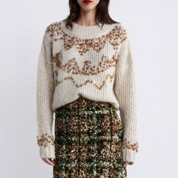 Zara Knit Mohair Blend Cardigan With Sequin Detail